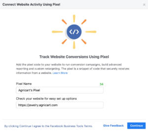 integrate facebook pixel to Agnicart powered eCommerce website